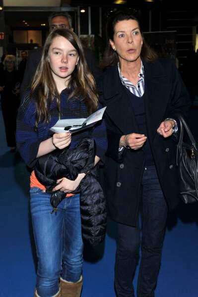 La princesse Alexandra de Hanovre et sa mère Caroline aux mondiaux de patinage le 27 mars 2012