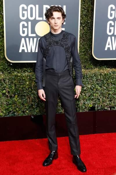 Timothee Chalamet, en Louis Vuitton à la cérémonie des Golden Globes le 6 janvier 2019 à Los Angeles