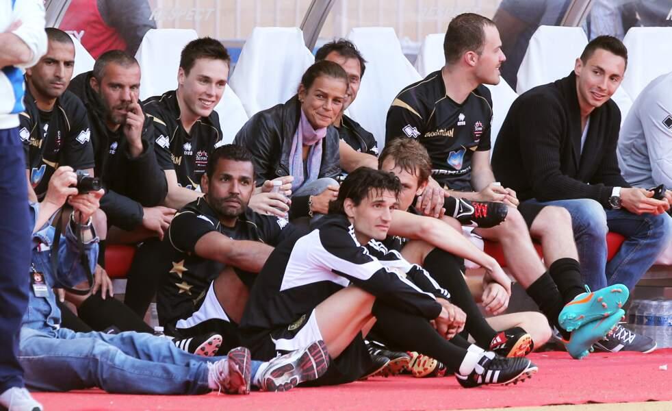 """Stéphanie de Monaco et Louis Ducruet lors du """"World Stars Football Match"""" à Monaco le 21 mai 2013"""