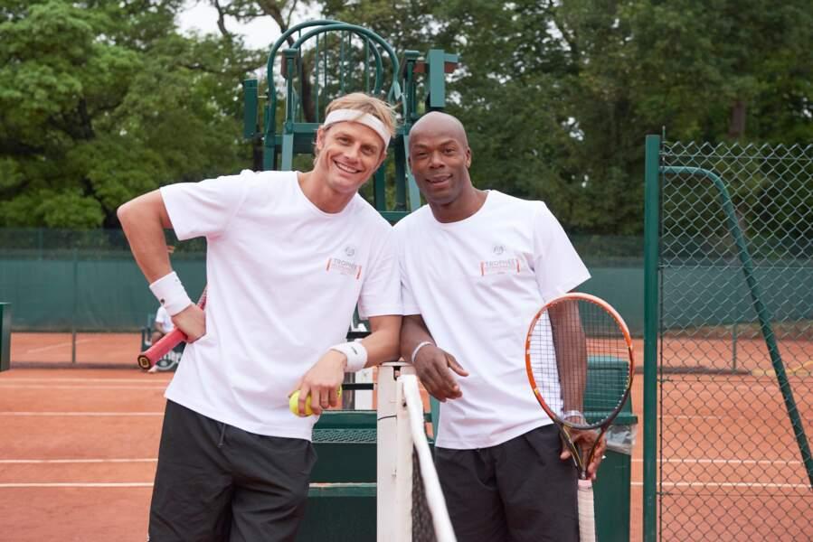 Arnaud Lemaire et Sylvain Wiltord avant leur match