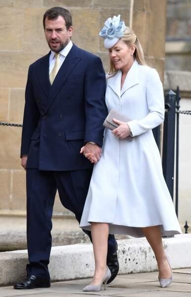 Peter et Autumn Phillips d'Angleterre le dimanche de Pâques devant la Chapelle Saint-Georges de Windsor, en 2018.
