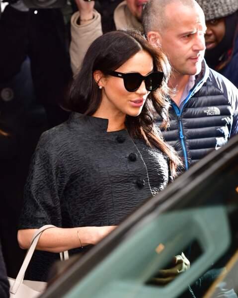 Meghan Markle sortant de son hôtel situé dans l'Upper East Side à New York le 19 février.