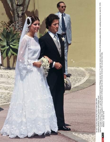 Caroline de Monaco et son mari Philippe Junot, le jour de leurs noces à Monaco, le 29 juin 1978