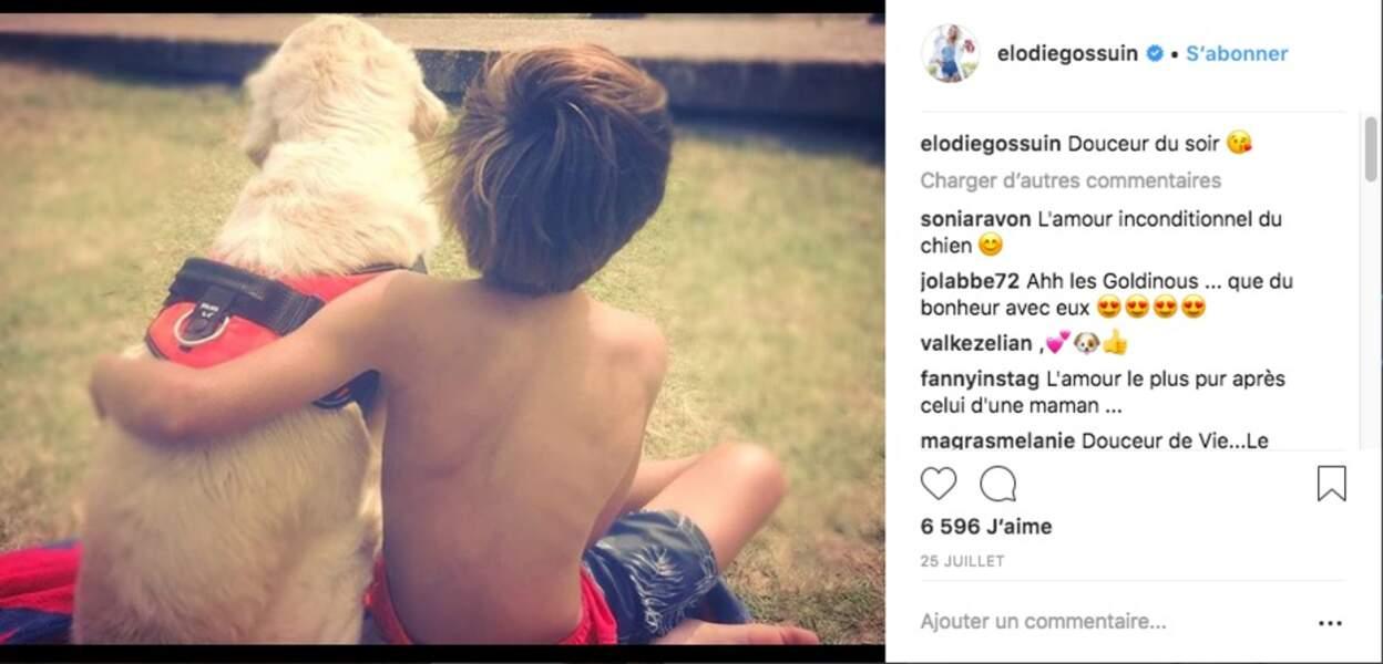 L'un des fils d'Elodie Gossuin lors de leurs vacances au camping