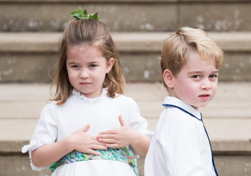 Charlotte et George de Cambridge au mariage d'Eugenie d'York à Windsor le 12 octobre 2018