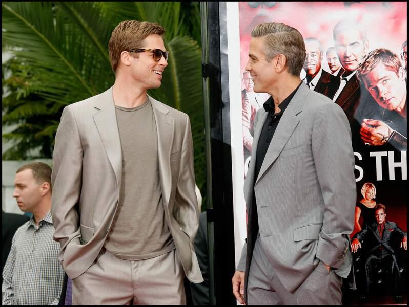 Brad Pitt et George Clooney en 2007 à Los Angeles