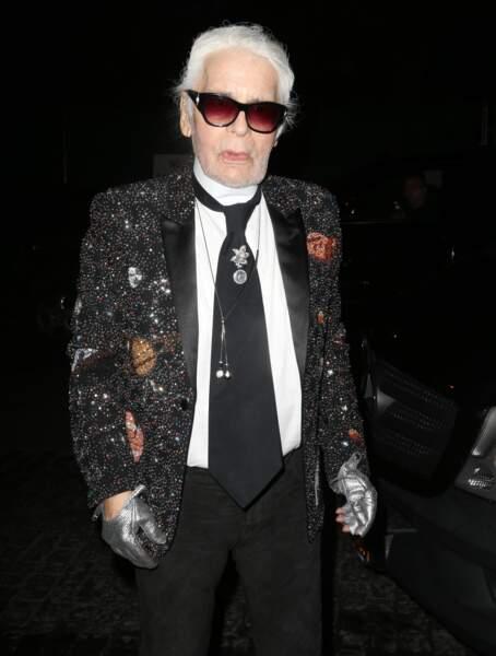 Karl Lagerfeld lors de la soirée Chanel à New York e 23 octobre 2017