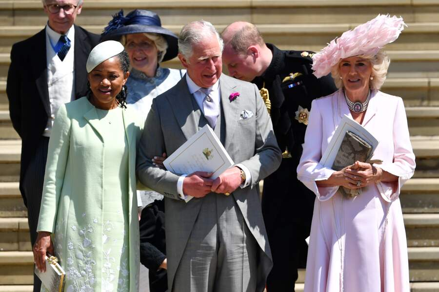 Doria Ragland, le prince Charles et Camilla Parker Bowles à la sortie de la chapelle