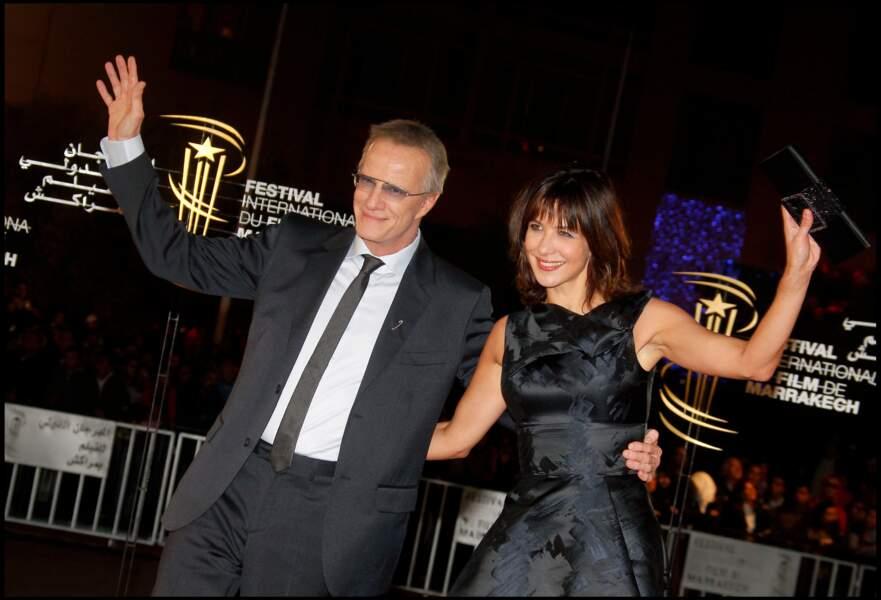Sophie Marceau resplendissante au bras de Christophe Lambert au festival du film de Marrakech en 2010.