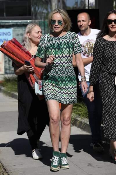 Pour l'occasion, Sharon Stone avait opté pour un look décontracté