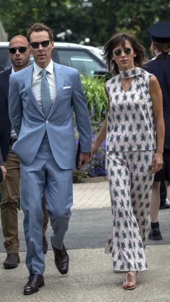Benedict Cumberbatch arrive pour assister à la finale homme du tournoi de Wimbledon à Londres, le 14 juillet 2019.