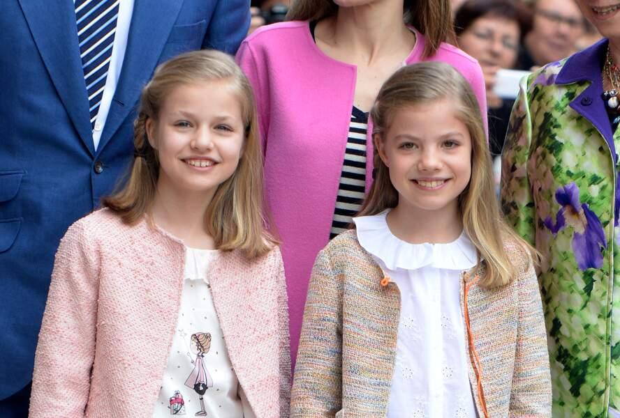 Deux ans séparent la princesse Leonor d'Espagne 11 ans, et sa soeur Sofia 9 ans, uniquement 2 ans