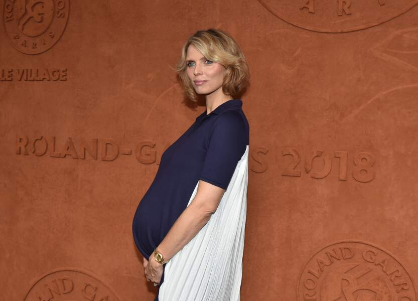 Sylvie Tellier, enceinte, assistait à la finale à Roland Garros, le 10 juin 2018.