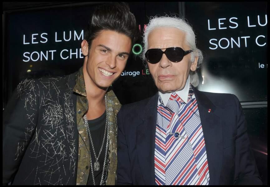 Baptiste Giabiconi et Karl Lagerfeld à la soirée AA au VIP Room de Saint-Tropez