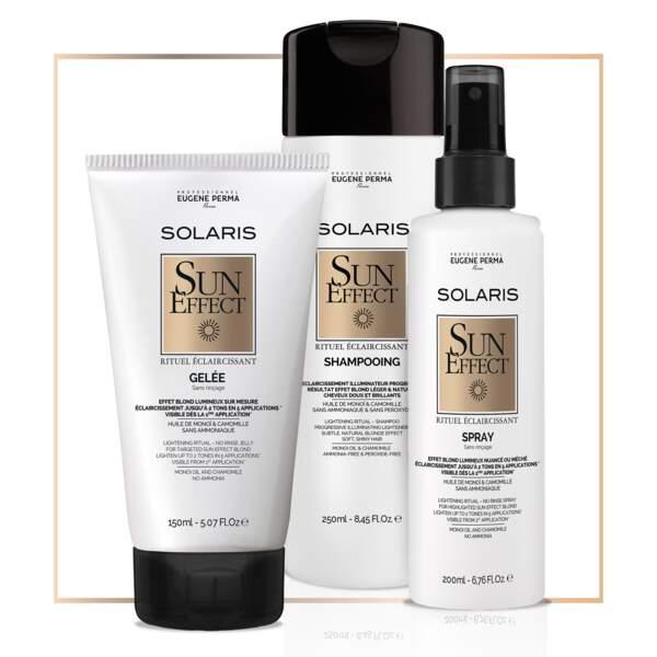 Eclaircir progressivement avec : hampoing, gelée et spray éclaircissants Sun Effect, Solaris, Eugène Perma 9€ à 13€