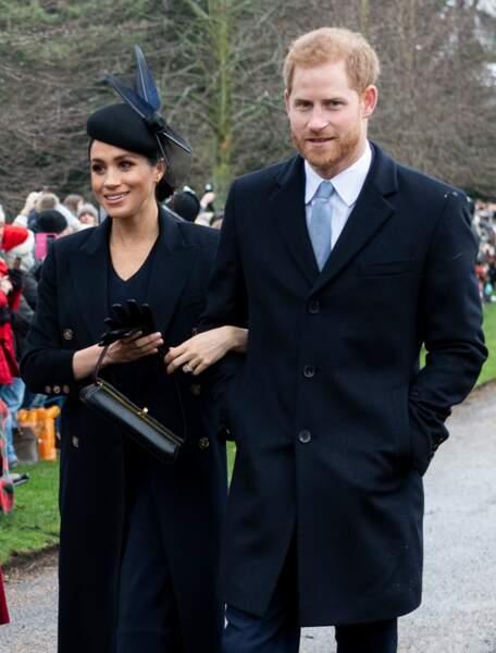 Meghan Markle et le prince Harry à la messe de Noël le 25 décembre 2018. Meghan est enceinte de cinq mois