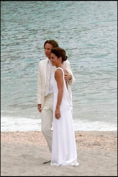 Alessandra Sublet et Thomas Volpi ravissants en avril 2008 lors de leur mariage