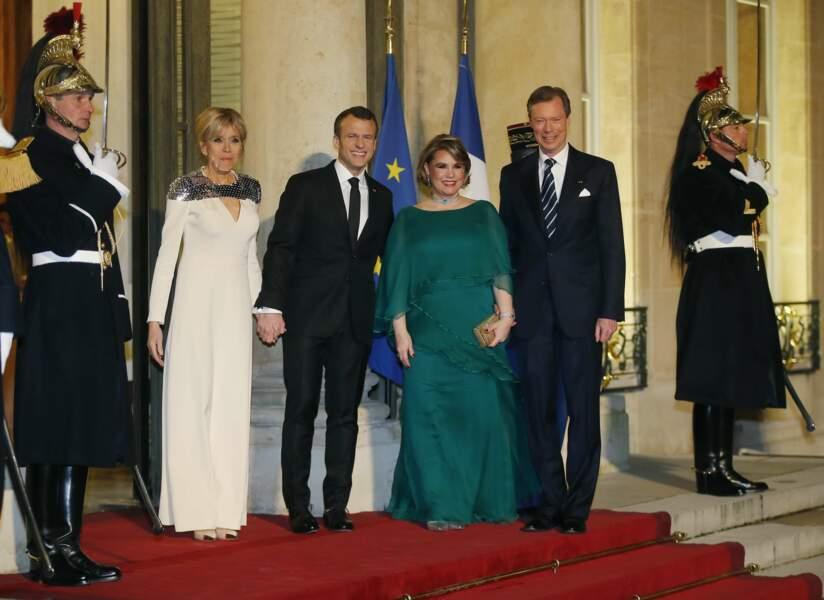 Brigitte Macron, Emmanuel Macron, Maria-Teresa et son époux Henri de Luxembourg.