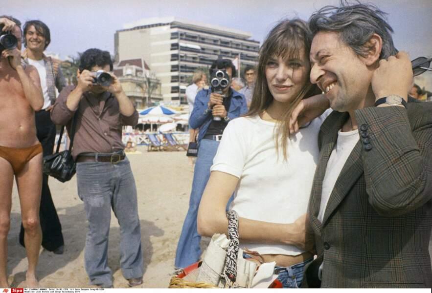 Jane Birkin et Serge Gainsbourg à Cannes en 1974