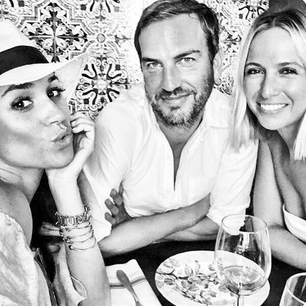 Meghan Markle, Markus Anderson et Misha Nonoo à Madrid, en août 2016