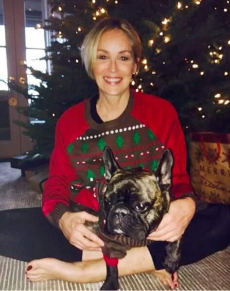 Sharon Stone et son chien