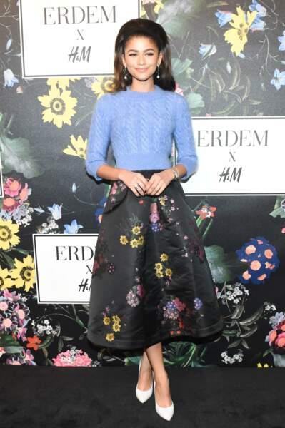 Zendaya Coleman, lors de la soirée de lancement de la collection Erdem x H&M à Los Angeles le 18 octobre 2017