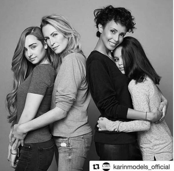 Emma Smet pose avec sa mère Estelle Lefébure pour Mixa tout comme Sonia Rolland et sa fille Tess