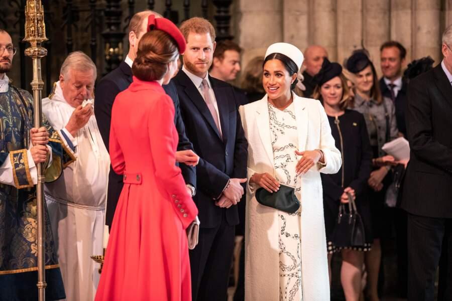 Meghan Markle en Victoria Beckham le 11 mars 2019 pour la journée du Commonwealth à l'abbaye de Westminster