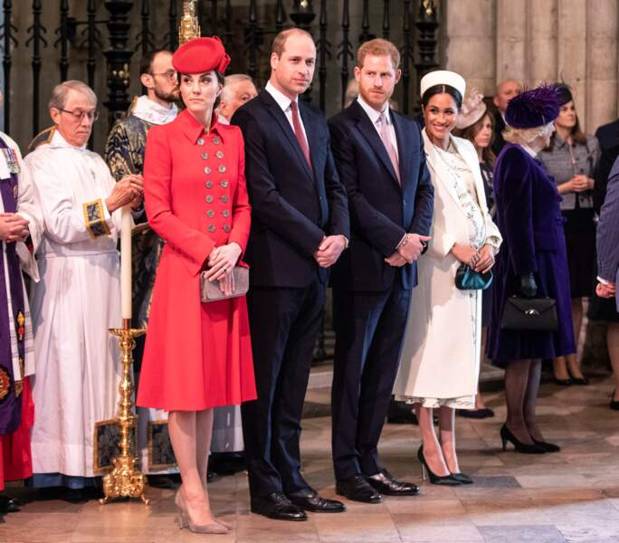 Le prince William, le prince Harry, Kate Middleton et Meghan Markle  à la messe du Commonwealth à Londres le 11 mars 2019.