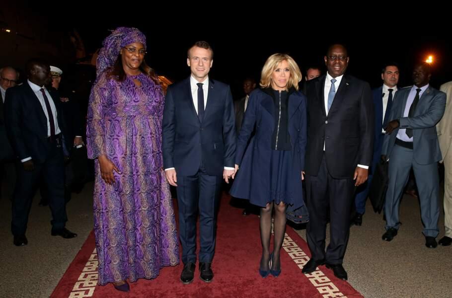 Emmanuel et Brigitte Macron avec le président sénégalais et son épouse, la Première dame