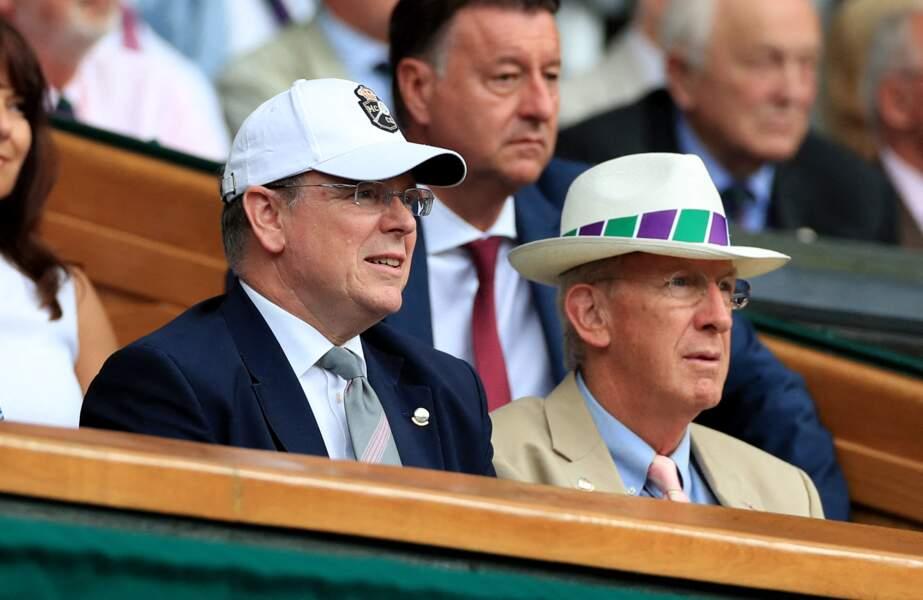 Le prince Albert de Monaco dans la loge royale de Wimbledon, le 10 juillet 2019