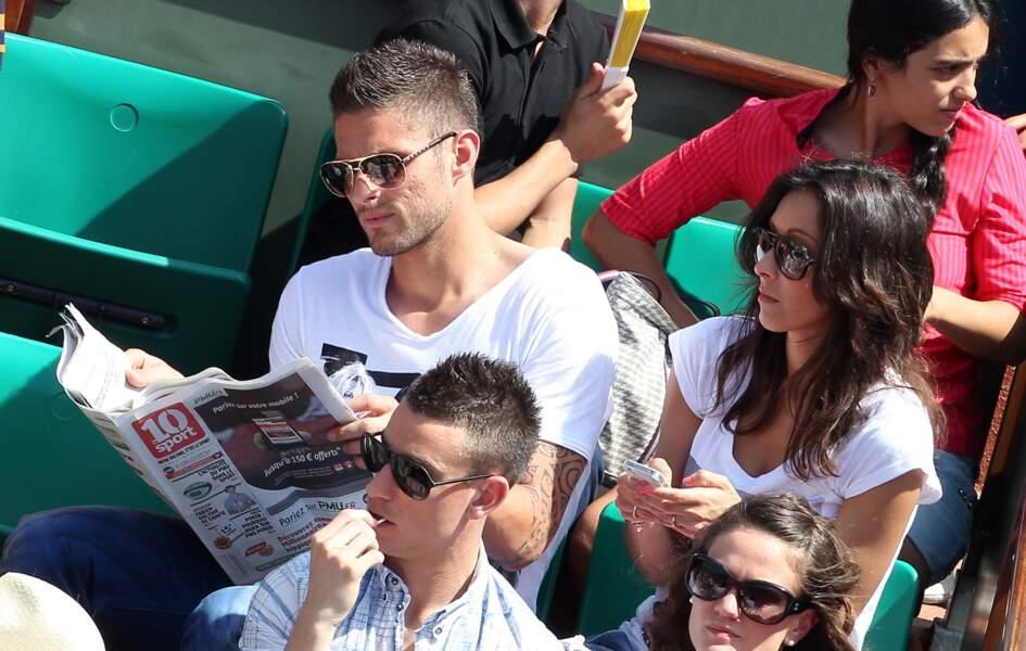 Olivier Giroud et son épouse Jennifer, le 2 juin 2012 à Roland Garros