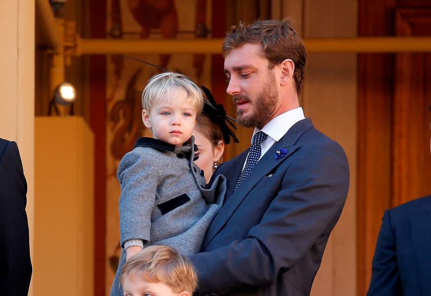 Pierre Casiraghi et son fils Stefano lors de la fête Nationale monégasque à Monaco, le 19 novembre 2018