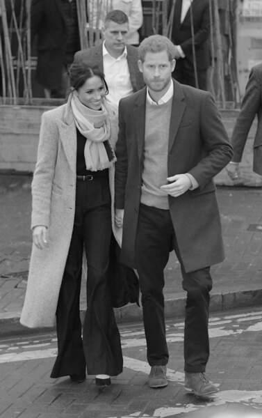 """Le prince Harry et Meghan Markle arrivent à la station de radio """"Reprezent"""" dans un quartier de Londres, en 2018."""