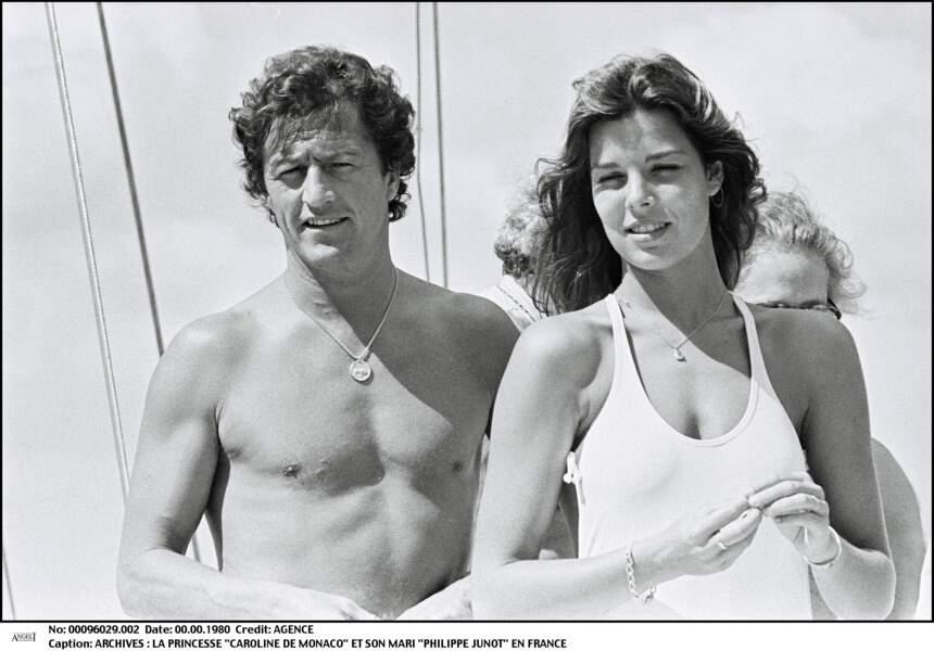 Caroline de Monaco et son premier mari Philippe Junot, en décembre 1978