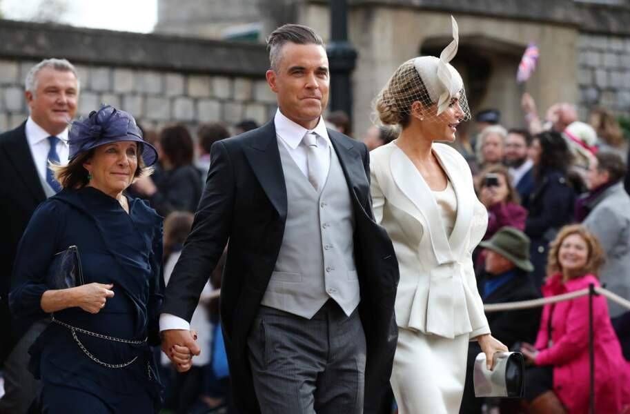 Robbie Williams et son épouse Ayda au mariage d'Eugénie d'York, au château de Windsor, le 12 octobre 2018