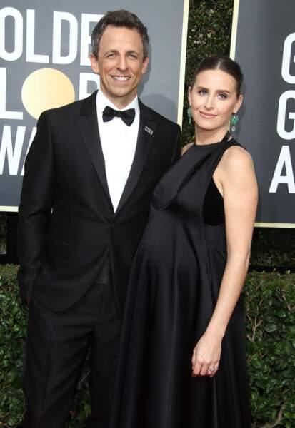 Alexi Ashe, la femme de l'acteur Seth Meyers dans une robe longue noire et en satin ultra chic