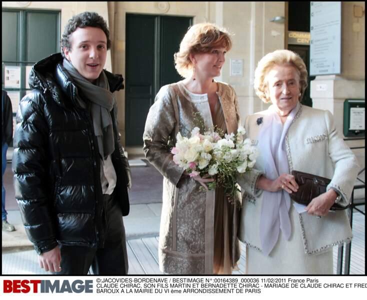 Claude, Martin et Bernadette Chirac lors du mariage de Claude Chirac et Frédéric Salat Baroux en 2011