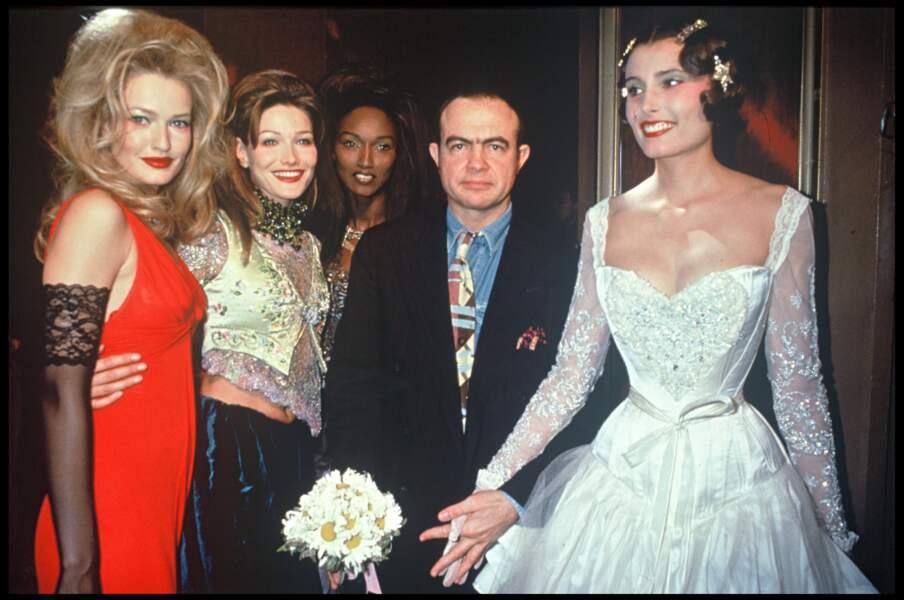Avec Karen Mulder et Katoucha, auprès du couturier Christian Lacroix en 1994