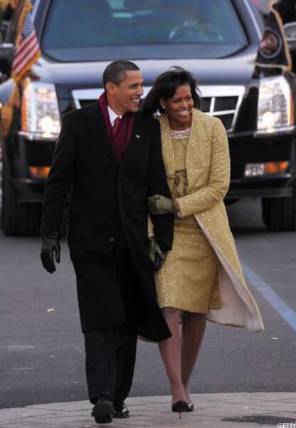 Barack parade avec Michelle le jour de son investiture à Washington, DC, le 20 janvier 2009