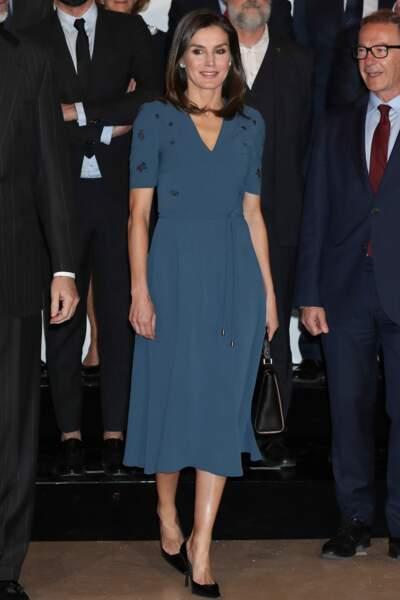 La reine Letizia d'Espagne était présente ce jeudi au Palais Zarzuela à Madrid