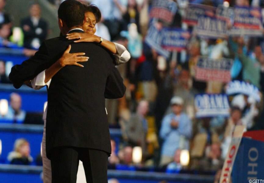 Barack câline Michelle à la Convention nationale démocrate, Charlotte, le 6 septembre 2012