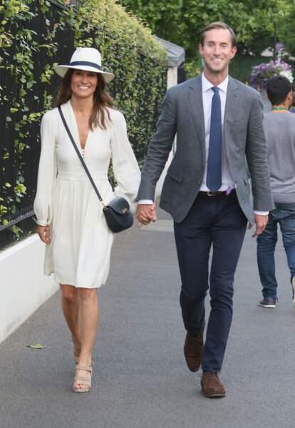 Pippa Middleton et son mari James Matthews à la sortie de Wimbledon à Londres, le 14 juillet 2017