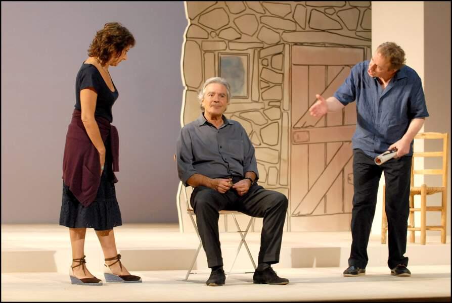 """Josiane Stoléru en 2006 aux côtés de Pierre Arditi et Jean-Michel Dupuis dans la pièce """"La danse de l'albatros"""""""