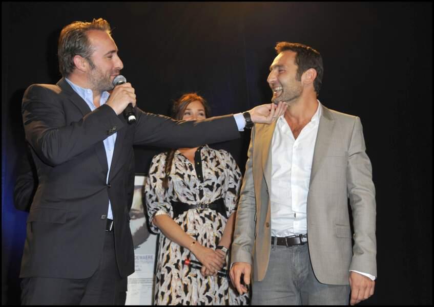 Jean Dujardin et Gilles Lellouche lors de la remise des prix Romy Schneider et Patrick Dewaere en 2011