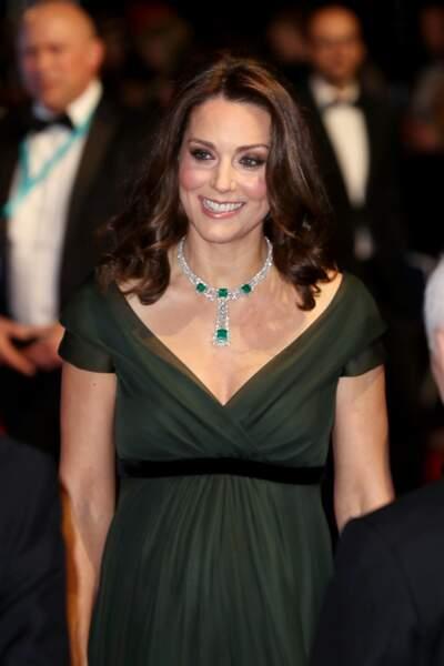 Kate Middleton aux BAFTA à Londres le 18 février 2018