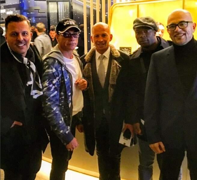 Jean-Roch, Jean-Claude Van Damme, Dida, Sylvain Wiltord et Pascal Obispo (Instagram @jeanroch)