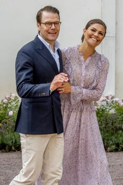 Le prince Daniel et la princesse Victoria lors de son 41ème anniversaire à Solliden, le 14 juillet 2018.