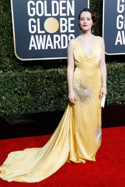 Claire Foy, en robe Miu Miu sur le tapis rouge des Golden Globes, le 6  janvier 2019 à Los Angeles