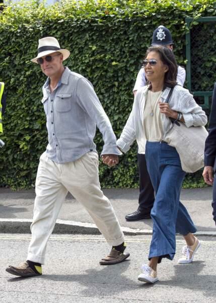 Woody Harrelson et sa femme Laura Louise arrivent pour assister à la finale homme du tournoi de Wimbledon.
